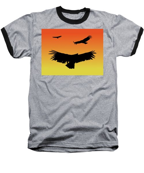 California Condors In Flight Silhouette At Sunset Baseball T-Shirt