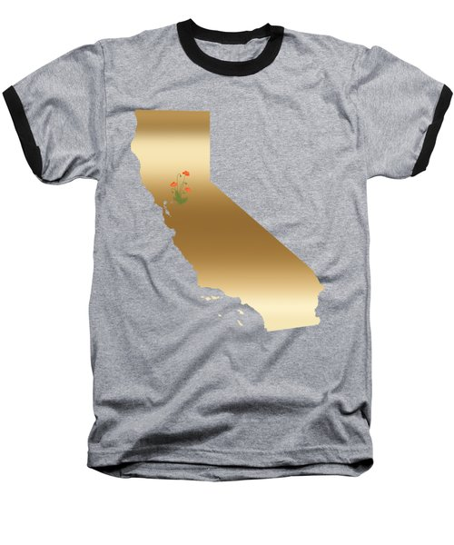 California Gold With State Flower Baseball T-Shirt