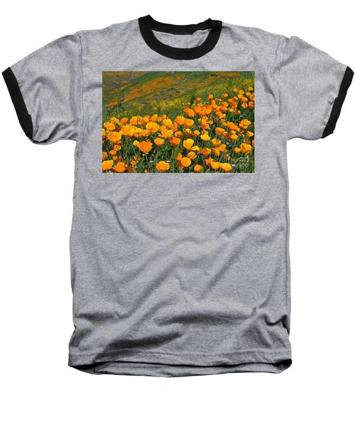 California Golden Poppies And Goldfields Baseball T-Shirt by Glenn McCarthy