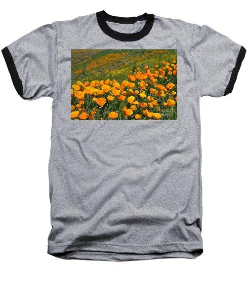 California Golden Poppies And Goldfields Baseball T-Shirt
