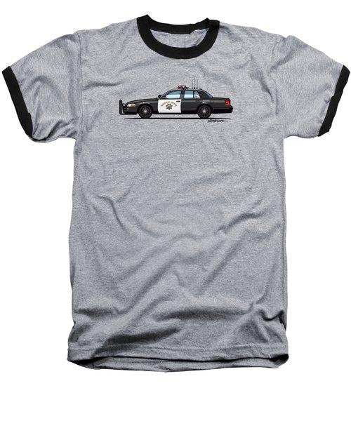 California Highway Patrol Ford Crown Victoria Police Interceptor Baseball T-Shirt by Monkey Crisis On Mars