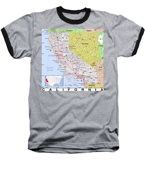 California Modern Map Baseball T-Shirt