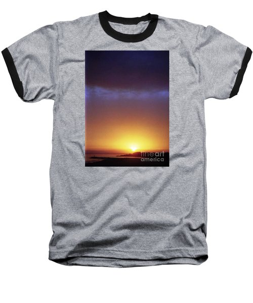 California Ocean Sunset Baseball T-Shirt by Ted Pollard