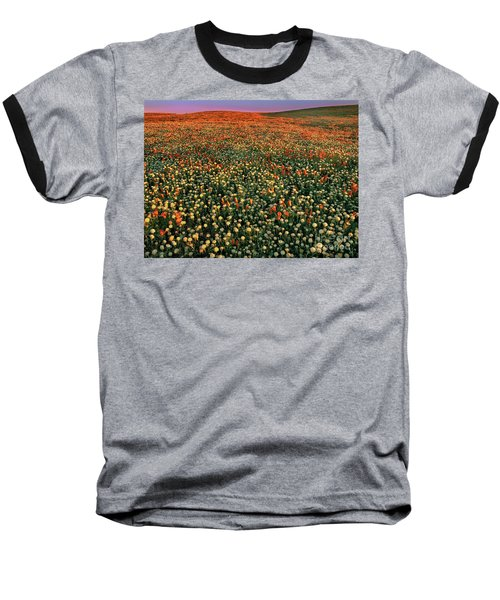 Baseball T-Shirt featuring the photograph California Poppies At Dawn Lancaster California by Dave Welling