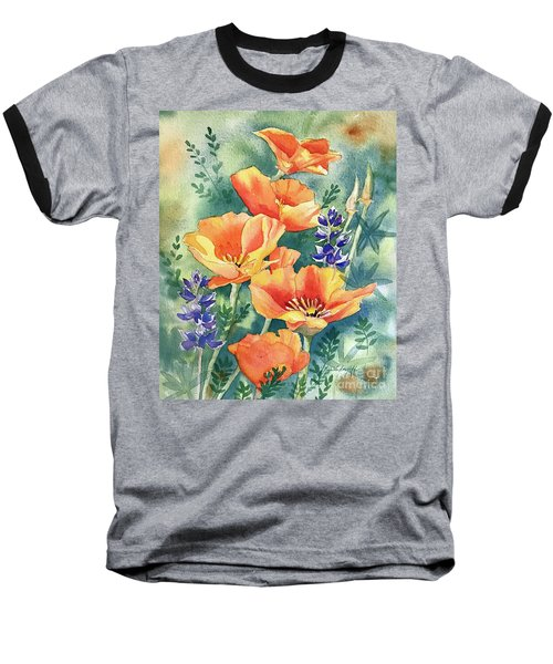 California Poppies In Bloom Baseball T-Shirt