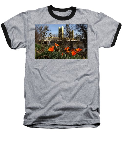 California Poppies With The Slightly Photographically Blurred Sacramento Tower Bridge In The Back Baseball T-Shirt