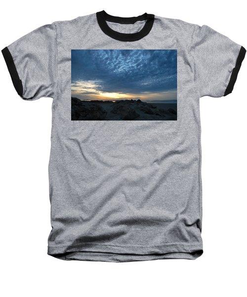 California Rocky Beach Sunset  Baseball T-Shirt
