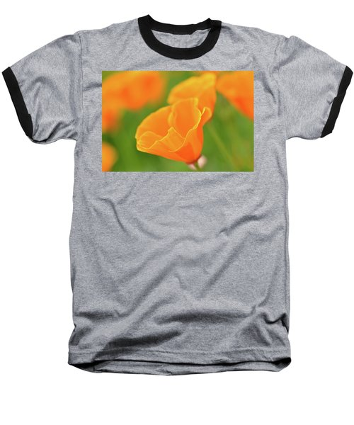 California Spring Poppy Macro Close Up Baseball T-Shirt