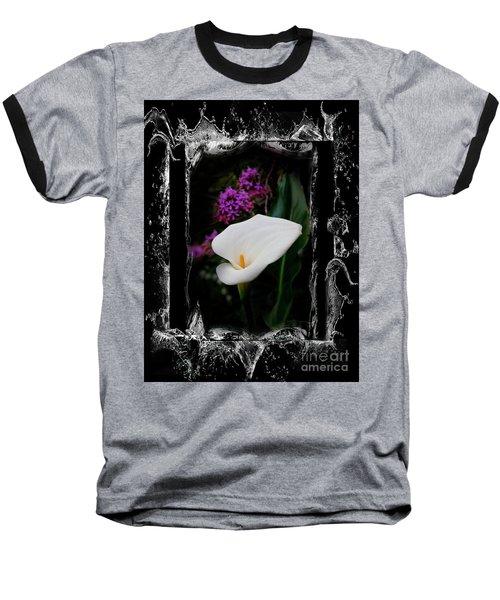 Baseball T-Shirt featuring the photograph Calla Lily Splash by Al Bourassa
