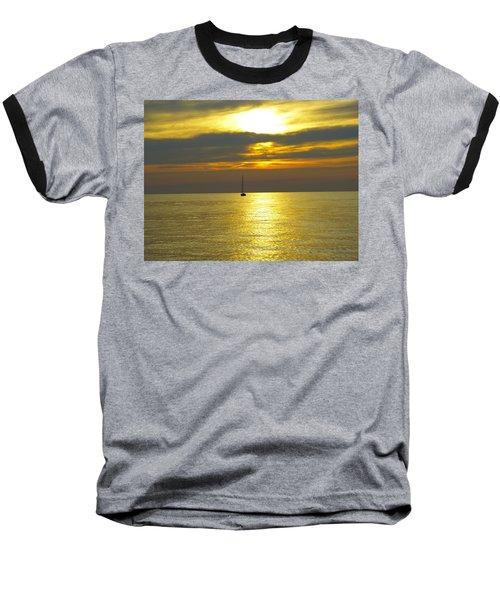 Calm Before Sunset Over Lake Erie Baseball T-Shirt by Donald C Morgan