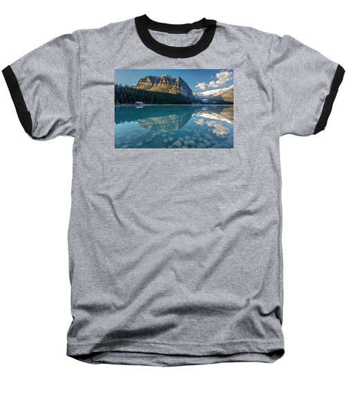 Calm Lake Louise Reflection Baseball T-Shirt by Pierre Leclerc Photography