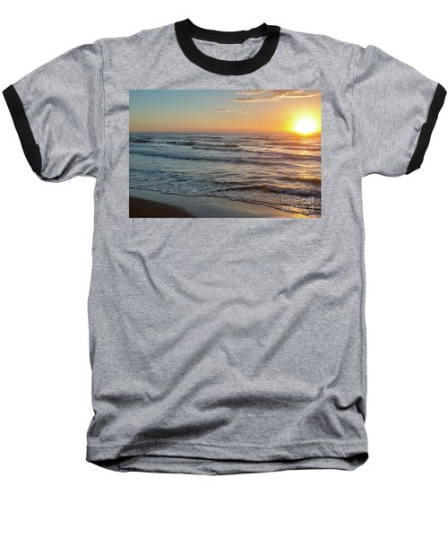 Calm Water Over Wet Sand During Sunrise Baseball T-Shirt