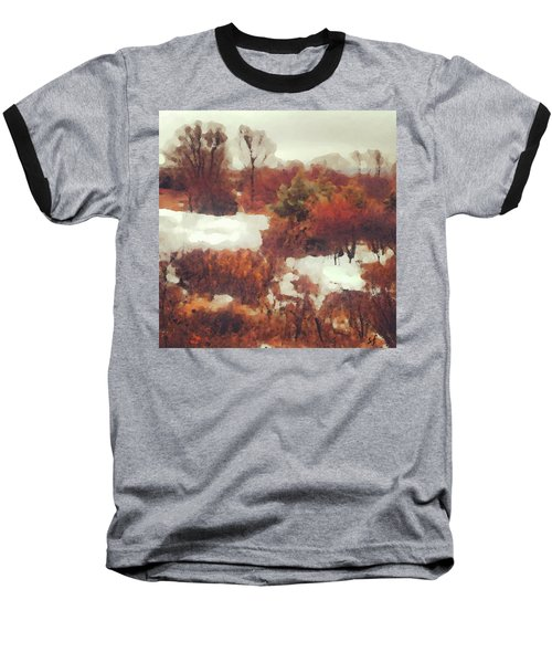 Baseball T-Shirt featuring the digital art Came An Early Snow by Shelli Fitzpatrick