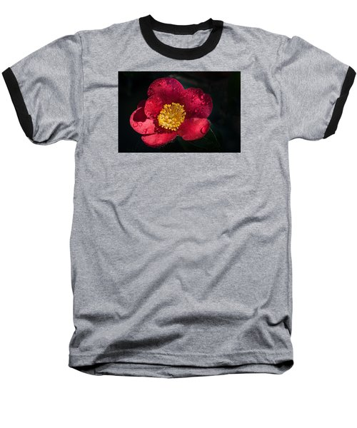 Camellia In Rain Baseball T-Shirt