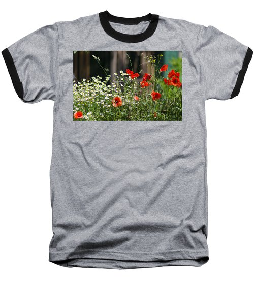Camille And Poppies Baseball T-Shirt