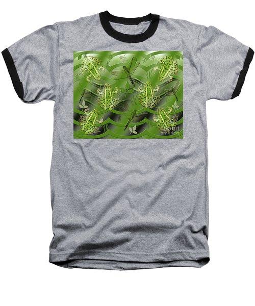 Camo Frog Dragonfly Baseball T-Shirt