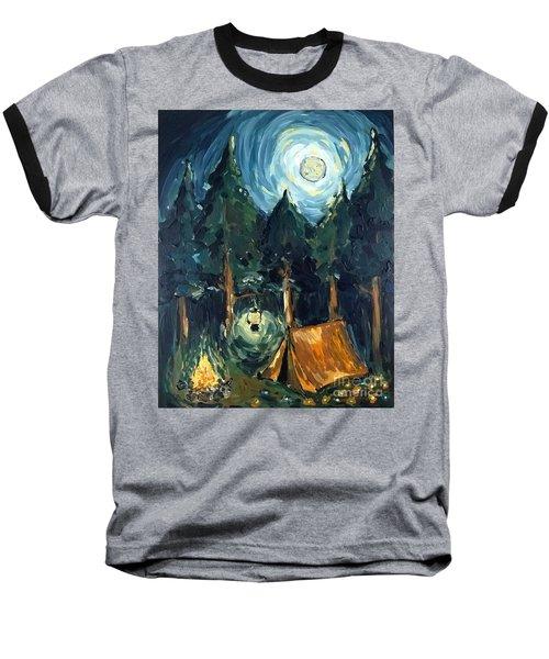 Camp At Night Baseball T-Shirt