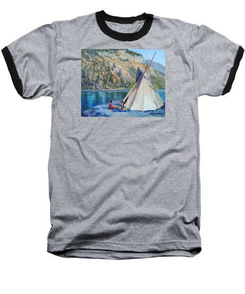 Camp By The Lake Baseball T-Shirt by Connie Schaertl