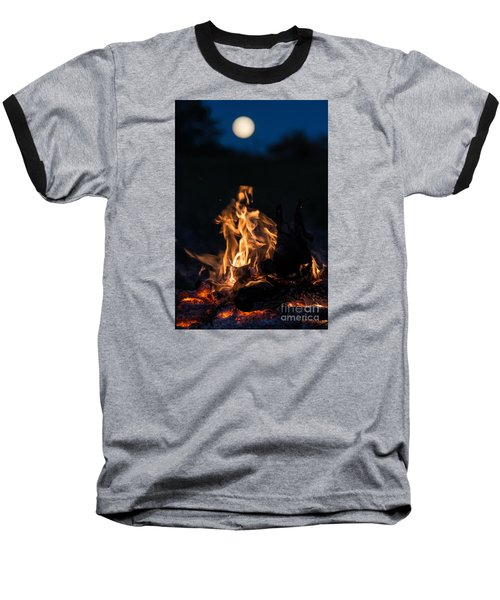Camp Fire And Full Moon Baseball T-Shirt by Cheryl Baxter