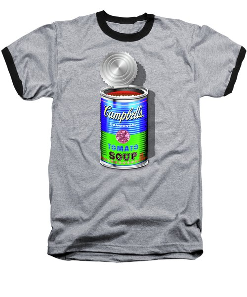 Campbell's Soup Revisited - Blue And Green Baseball T-Shirt by Serge Averbukh