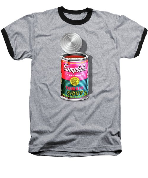 Campbell's Soup Revisited - Pink And Green Baseball T-Shirt by Serge Averbukh
