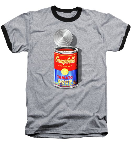 Campbell's Soup Revisited - Red And Blue   Baseball T-Shirt by Serge Averbukh