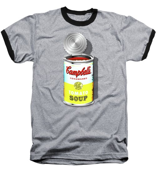 Campbell's Soup Revisited - White And Yellow Baseball T-Shirt