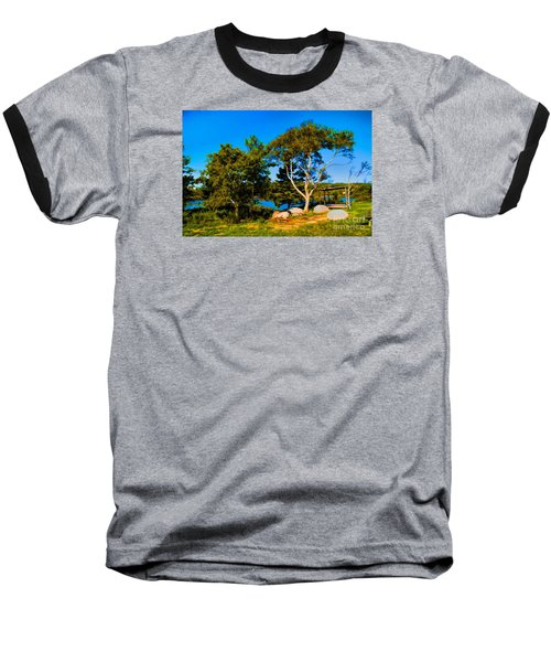 Baseball T-Shirt featuring the photograph Campfire Lake by Rick Bragan