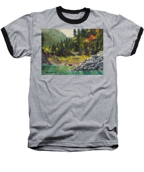 Camping On The Lake Shore Baseball T-Shirt by Lori Brackett