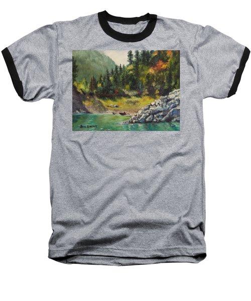 Camping On The Lake Shore Baseball T-Shirt