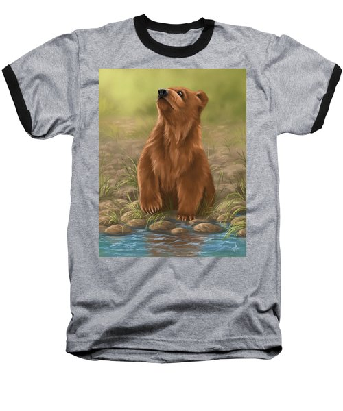 Baseball T-Shirt featuring the painting Can I Dive? by Veronica Minozzi