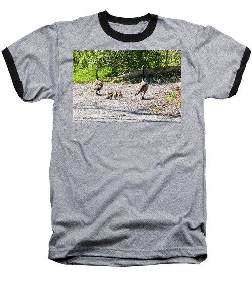 Canada Geese Family Walk Baseball T-Shirt