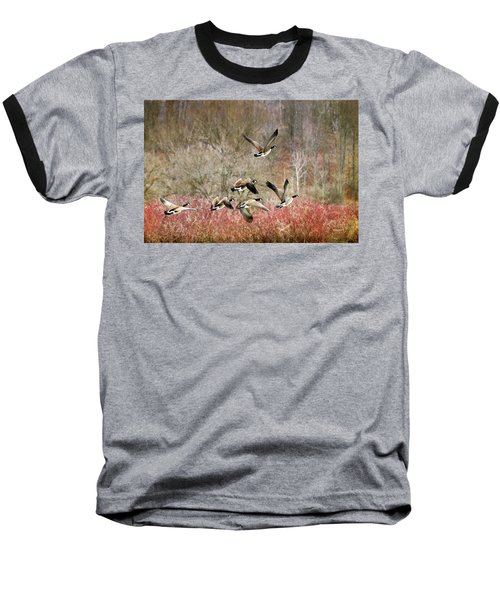 Canada Geese In Flight Baseball T-Shirt