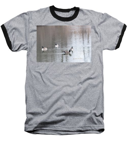 Baseball T-Shirt featuring the photograph Canada Geese Swing by Edward Peterson