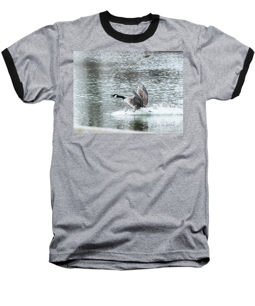 Baseball T-Shirt featuring the photograph Canada Goose Landing 2 by Edward Peterson