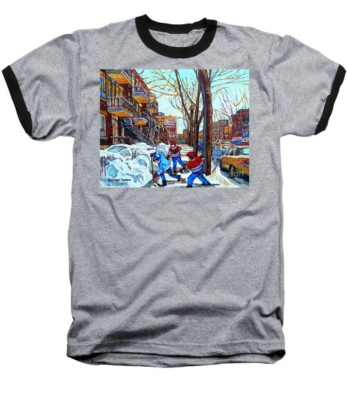 Canadian Art Street Hockey Game Verdun Montreal Memories Winter City Scene Paintings Carole Spandau Baseball T-Shirt