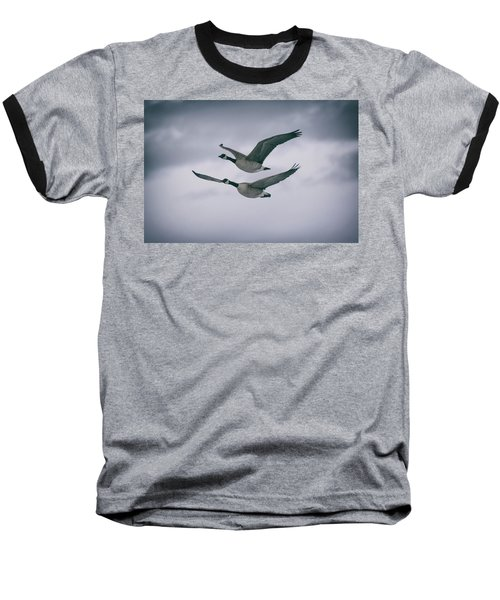 Canadian Geese In Flight Baseball T-Shirt by Jason Coward