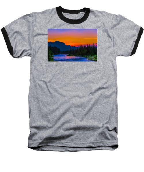 Canadian Rocky Sunset Baseball T-Shirt