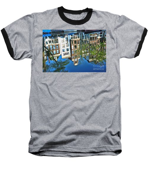 Baseball T-Shirt featuring the photograph Amsterdam Canal Reflection  by Allen Beatty