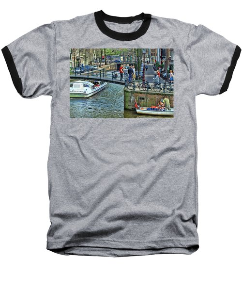 Baseball T-Shirt featuring the photograph Amsterdam Canal Scene 1 by Allen Beatty