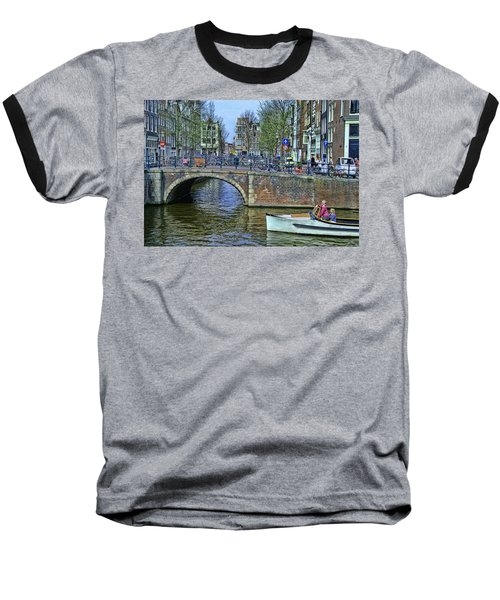 Baseball T-Shirt featuring the photograph Amsterdam Canal Scene 3 by Allen Beatty