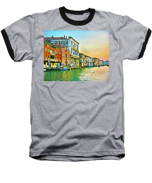 Canal Sunset - Venice Baseball T-Shirt by Tom Cameron