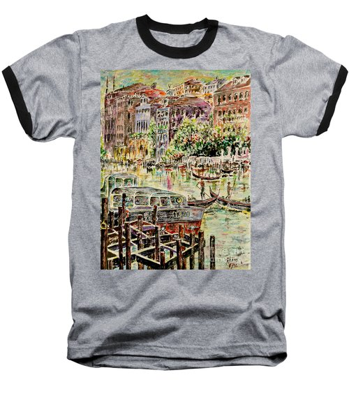 Baseball T-Shirt featuring the painting Canale Grande by Alfred Motzer
