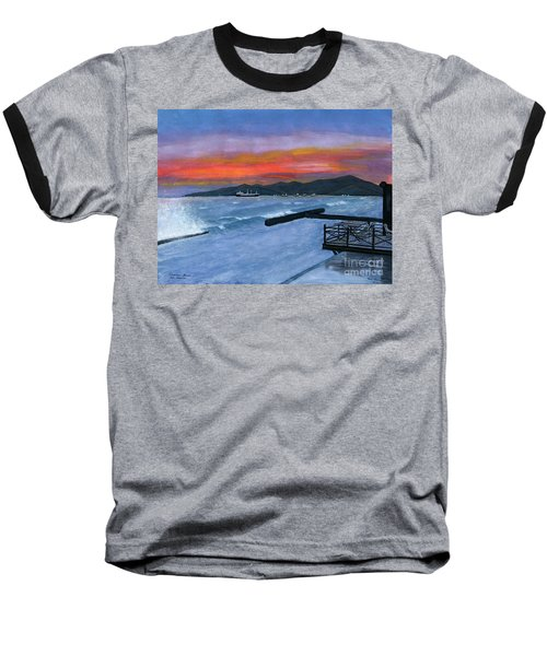 Baseball T-Shirt featuring the painting Candidasa Sunset Bali Indonesia by Melly Terpening