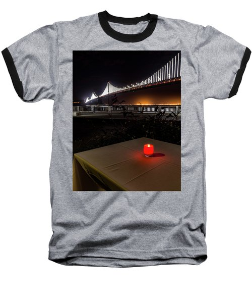 Baseball T-Shirt featuring the photograph Candle Lit Table Under The Bridge by Darcy Michaelchuk