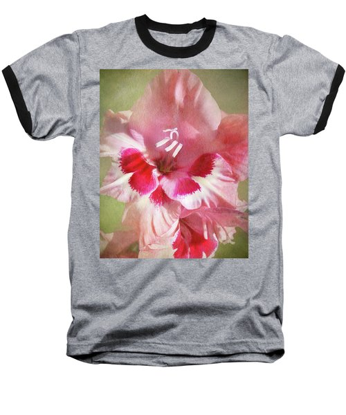 Baseball T-Shirt featuring the photograph Candy Cane Gladiola by Kathi Mirto