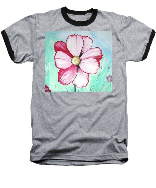 Baseball T-Shirt featuring the painting Candy Stripe Cosmos by Mary Ellen Frazee