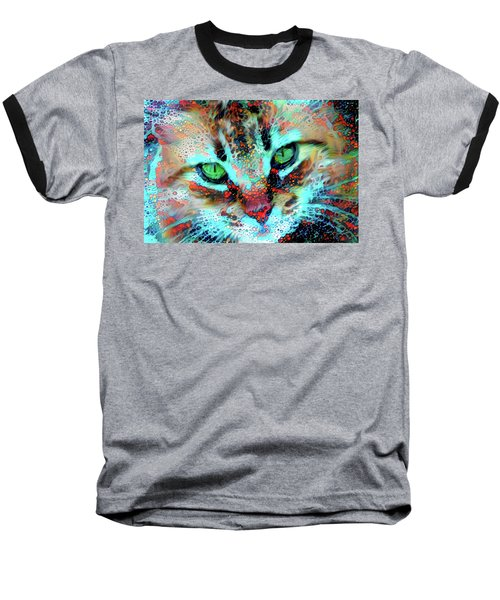 Candy The Colorful Green Eyed Cat Baseball T-Shirt