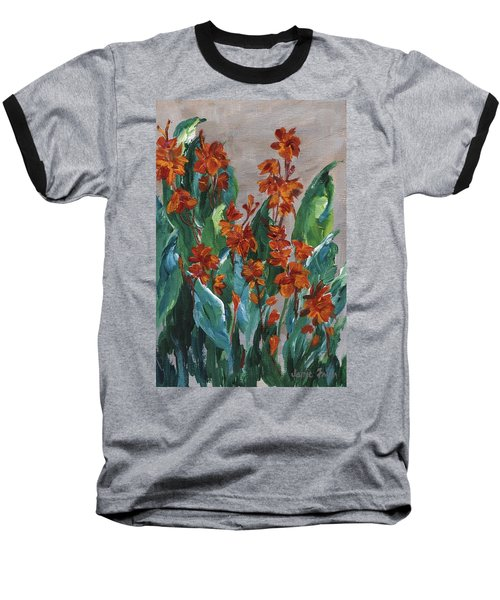 Baseball T-Shirt featuring the painting Cannas by Jamie Frier