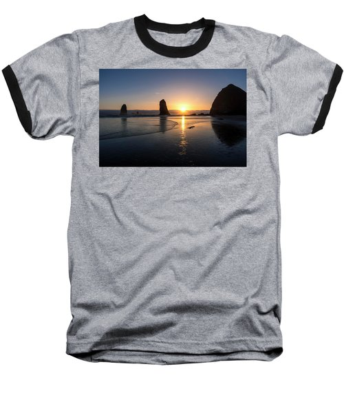 Cannon Beach Sunset Baseball T-Shirt